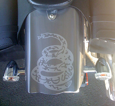 Rattlesnake on motorcycle