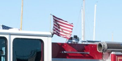 SF firetruck flying the First Navy Jack