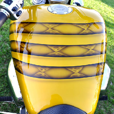 Gadsden flag motorcycle - coiled body of snake