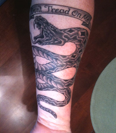 Andy's Gadsden tattoo