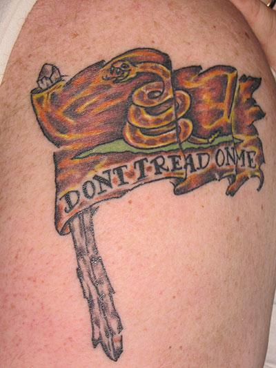 Dennis's Gadsden tattoo