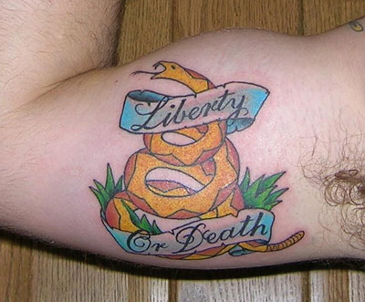 Jason's Liberty or Death tattoo
