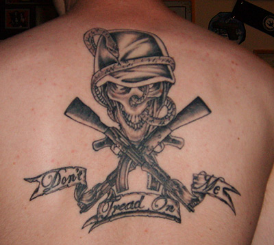 Don't Tread on Me back tattoo