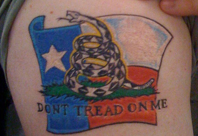Kevin's Don't Tread on Me Texas Flag tatoo