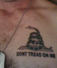 Travis's Don't Tread on Me tattoo