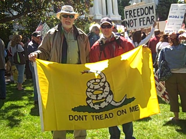 Gadsden flag at Tea Party