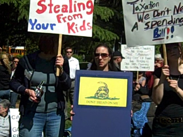 Gadsden placard at Tea Party