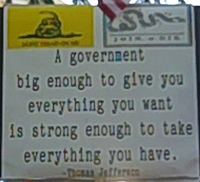 Dont Tread on Me signs at Tea Party